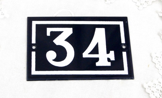 Vintage Traditional French Enamel House Number Plate Number 34 in Dark Blue with White Colored Numbers / Porcelain House Sign Retro Interior