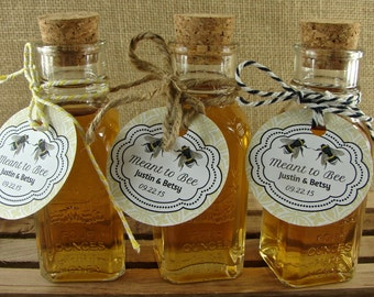 Vintage Style Honey Bottles With Corks And Personalized Meant To Bee Damask Tags - DIY Honey Wedding Favors - 24 - Custom Honey Favors