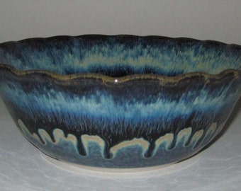 Pottery Fruit and Salad Bowl, 2.5 qt in Blue Lagoon, Wheel Thrown Stoneware
