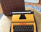 1960's Typewriter - Lilliput Tartan Case - Unique Orange Typewriter - Retro Orange Decor