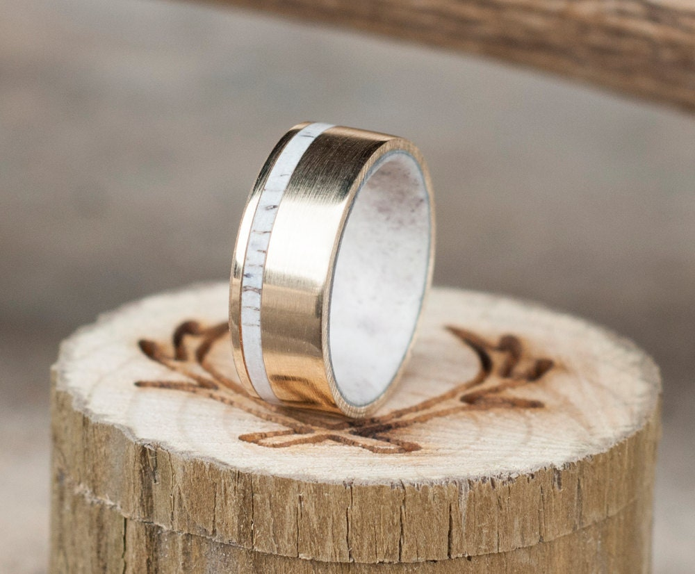 Mens Wedding Band 10K Gold Elk Antler Lined Ring With Antler