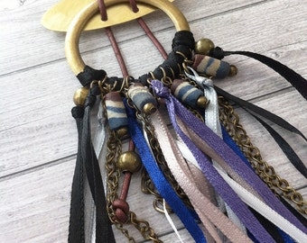 Statement Boho necklace-long tassel necklace- textile pendants-ceramic beads - tribal necklace