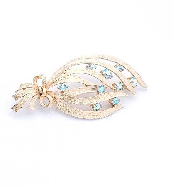 Vintage Gold Foil blue Aurora Borealis Rhinestone leaf twig flower brooch pin