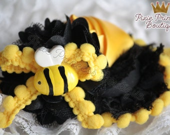Beeautifully You - Headband, Baby Headband, Photography Prop, Couture Headband, Hair Clip, Bee Headband, Spring Headband, Black Yellow