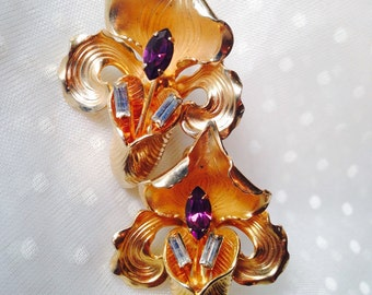 Vintage Amethyst Goldtone Orchid Earrings!!