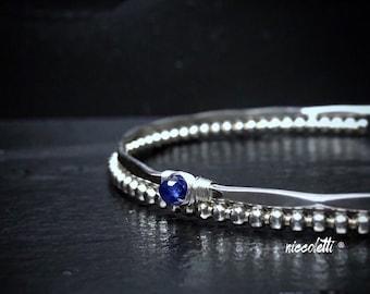 Genuine Blue Sapphire Bangle Bracelet / September Birthstone Jewelry / Mothers Jewelry / Delicate Gemstone Bangle / Something Blue Gift