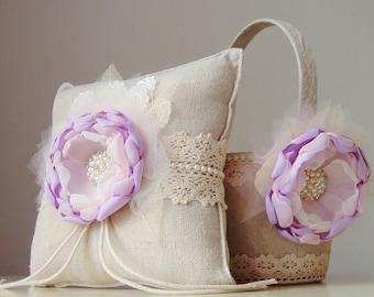 Flower Girl Basket,  Ring Bearer Pillow,  Wedding,  Lavender Flower Girl Basket,  Vintage Basket and Pillow Set