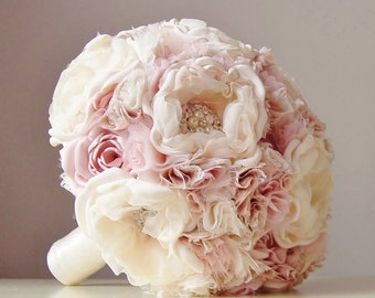 Fabric Wedding Bouquet, Weddings, Vintage Bridal Bouquet, Fabric Flower Bouquet, Brooch Bouquet, Light Pink/Blush, Ivory, Off White