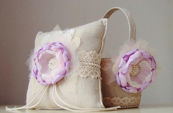 Vintage Flower Girl Basket And Ring Bearer Pillow : Flower girl basket ring bearer pillow wedding lavender