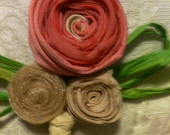 Coral and gold boutonniere rustic shabby chic boho groom fabric flower boutonniere pink coral cream champagne gold photo gatsby wedding