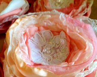 peach and coral wedding table decor, fabric flower decor, upcycled vintage shabby chic lace wedding decor,  church pew decor event party
