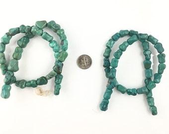 Chinese hubei turquoise dog bone beads-tibetan green turquoise bamboo  beads-green blue gemstone beads-10-12 mm half strandNO.797
