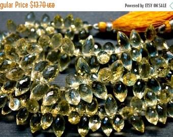 sale AA lemon quartz gemstone briolette- faceted lemon quartz dew drop briolette- set of 10 Pcs- 8-13 mm No.287
