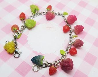 Grapes Fruit Bracelet - fruit jewelry, fruit bracelet, grape jewelry, strawberry bracelet, grape bracelet
