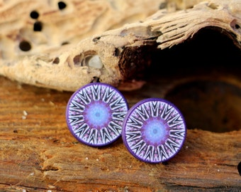 Geometric Posts, Modern Jewelry, Purple Studs, Mandala Earrings, Meditating Yoga, Stainless Steel Posts, Statement Jewellery, Decoupage Art