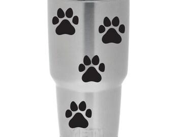 4x Pet Paw Prints Yeti Decal | Yeti Tumbler Decal  | Yeti Cup Decal | Yeti Paw Prints | Yeti Decal | Dog Paw Print Decal