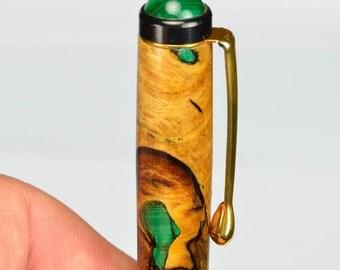 Texas Pecan Gemstone Inlay Ballpoint Pen Stunning African Malachite with Malachite Gemstone Crown Ladies Gift #122