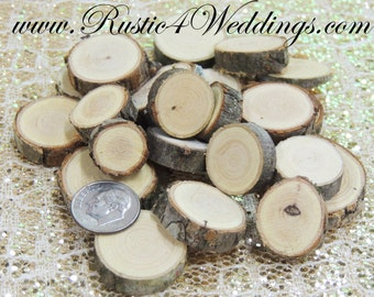 100 qty .5 to 1 inch Tiny Eclectic Wood Slices Mix in small sizes, for crafts, buttons, wood art, wedding decor, confetti, wood mosaics