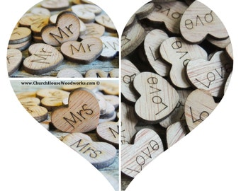 300 Wood Heart Confetti Combo Pack Love Wood Hearts, Wood Confetti Engraved Love Hearts- Rustic Wedding - Table Decorations- Mr Mrs Love