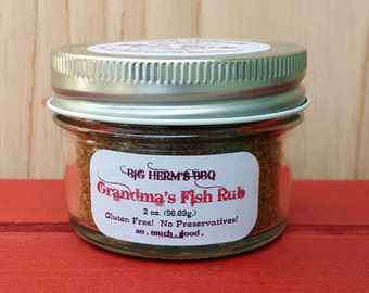 Grandma's Fish Rub by Big Herm's BBQ, salmon, steelhead, trout, meat smoker, bbq rub, man, traeger, big green egg, edible food