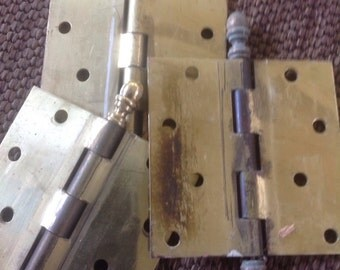 Brass Door Hinges with Finnials 4 Inches by 4 Inches