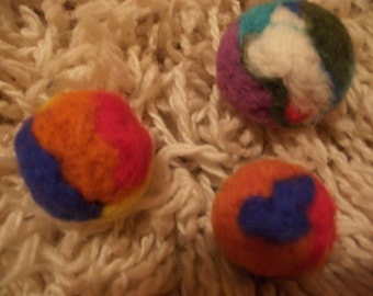 Felted Colorful Wool Cat Toys Set of 3 balls