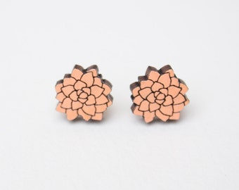 flower earrings for wife, Stud earrings, Wood Earrings, Simple Stud Earrings, Laser Cut wood, Wooden Earrings, Gifts for Her, Gifts under 20