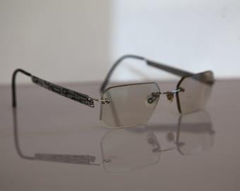 Vintage  Silver Rimless Frame,  Clear RX Prescription Lenses.