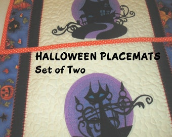 HALLOWEEN,  PLACEMATS,  SET of Two,  Machine Embroidered,  Quilted,  Home Decor, Holiday Décor,  Hostess Gift,  Party Decor, Photo Prop