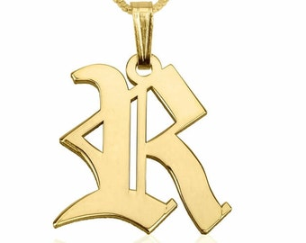 24K Gold Plated Sterling Silver Initial Necklace with chain