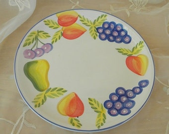 ON SALE Orchard Jubilee Dinner Plate, Made By The Artist's Touch, Vintage Item, Peaches, Pears and Grapes, Made in China