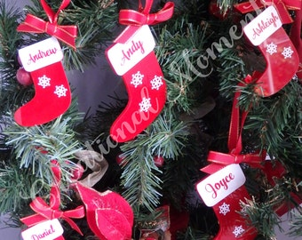 Personalised Christmas Stocking Tree Decoration Acrylic perspex