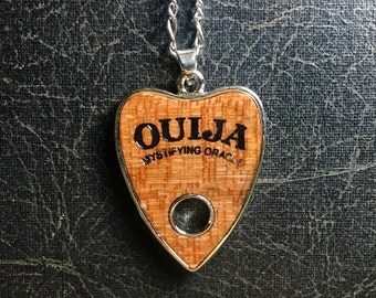 Wooden Burned Ouija Board Wood Planchette Mystifying Oracle Talisman Necklace Witch Talking Board