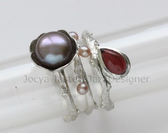 Stacking rings, 3 rings, Pearl rings, Twig ring, Flower ring, Stone ring, Where them together or not, Choose color scheme, Gift for her