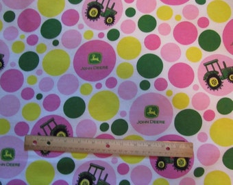 Green/Pink Girly John Deere Tractor Flannel Fabric by the Yard