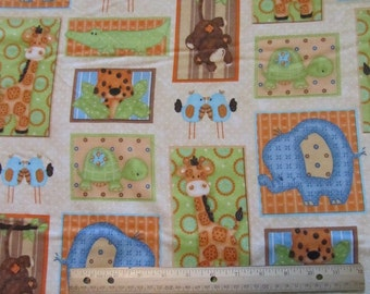 Brown Blocked Jungle/Monkey/Giraffee/Elephant/Turtle/Tiger Flannel Fabric by the yard