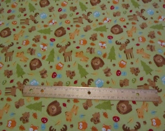 Green Riley Blake Woodland Animal/Moose/Deer/Fox/Bear Flannel Fabric by the Yard