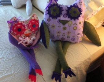 Home-made stuffed owls
