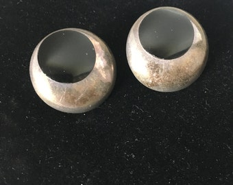 Vintage Sterling Silver and Onyx Circle Stud Earrings