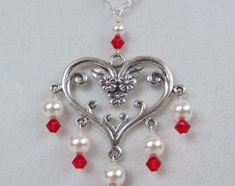 Sterling Silver Floral Heart Necklace with Pearls & Crystals