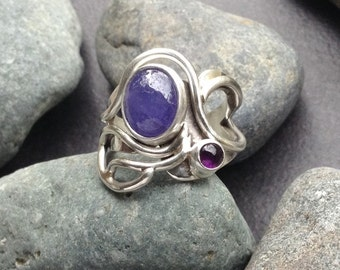 Purple tanzanite amethyst ring, one of a kind handcrafted sterling silver setting, flowing branches, periwinkle purple stone, size 7&1/4