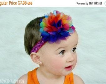Rainbow Headband, Baby Girls Rainbow Glitter Headband, Rainbow Chiffon Flower - CHOOSE SIZE Newborn to Adult - Gift for Girls, Photo Prop