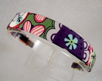 """Bold Floral Headband, Fabric Covered 1"""" Wide Hard Headband for Girls and Women - Plum, Grey, Designer Fabric - Gift for Her"""