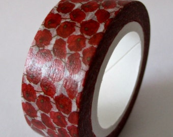 """Exclusive Print """"POPPIES"""" Washi Tape 15mm x 10 meters"""