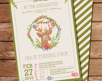 Enchanted Woodland Party Invitation - Deer Antlers - Enchanted Forest Invitation - Instant Download and Edit File at home with Adobe Reader