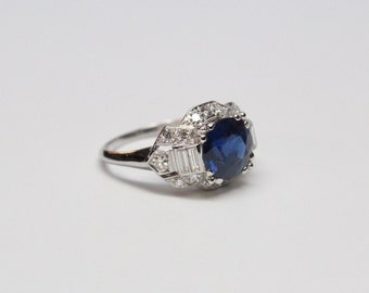 Mid Century Platinum Sapphire and Diamond Ring - 2.88ct GIA Certified Natural Sapphire - Exquisite