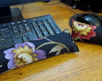 Black floral Wrist Rest, Keyboard Wrist Rest, Mouse Wrist Rest