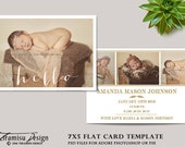 Girl Birth Announcement  Template, Photography Photoshop 5x7 Card Template, sku16-1