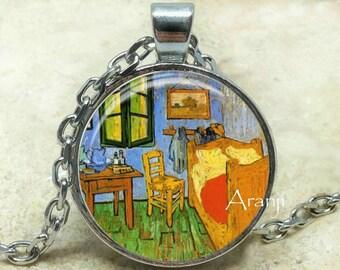 Vincent Van Gogh - Vincent's Bedroom in Arles art pendant, Van Gogh necklace, Van Gogh pendant, Vincent's bedroom necklace, Pendant #AR135P