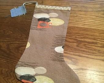 vintage barkcloth 50's stocking